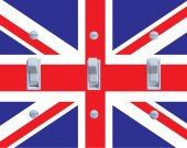 BRITISH Union Jack Triple Switch Plate