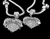 2 sister charm set Big sister lil sister charm only set Big sister lil siser for European style bracelet and necklace best jewelry gift