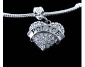 Police charm fits all the big name european style bracelets crystal heart style charm