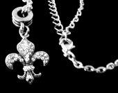 Fleur de lis Necklace Fleur de Lea Necklace Paris Necklace France Necklace French Necklace Fleur de lis Charm Necklace diamond cut chain