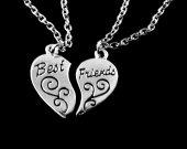 Best Friends heart necklace set 2 bracelet set 1 for each Best friend jewelry great gift