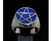 Sterling silver Pentagram ring Five pointed Star with dark blue enamel
