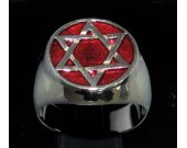 Sterling silver Hexagram ring Six pointed Star with dark red enamel