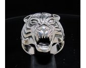 Sterling silver Men's Animal ring Predator Tiger Panthera