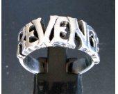 Sterling silver word ring Revenge one word - letter ring