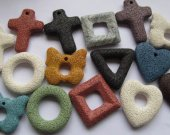 high quality 6pcs 30-50mm  Lava Volcanic Gem Donut round Cross square box heart circle Pendant Multicolor focal for necklace