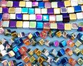 Raw Titanium Natural Rock Quartz 8 10 12mm full strand  ,rainbow plated ,cube box square diamond loose bead