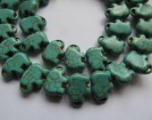 25%off --2strands 10x14 25x30mmmm Howlite  Turquoise stone,Elephant Animal Carved Blue Red Green charm bead