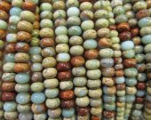 High Quality 2strands 4-12mm Natural Aqua Terra Jasper gemstone  rondelle abacus wheel heishi  rainbow  jewelry beads
