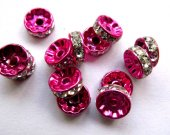top quality crystal rhinestone rondelle hot pink mixed spacer beads 10mm 100pcs