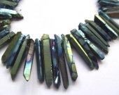 free ship --High Quality  Rainbow Titanium Coated Quartz Thin Point Nugget Dagger Short Beads 20-50mm