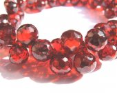 bulk cubic zirconia gemstone apricot drop onion faceted crimson red assortment  jewelry beads bracelet 5.5x7mm 64pcs