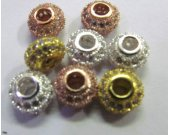 AAA grade  6x10mm 12pcs  pave metal spacer &cubic zirconia crystal rondelle abacus  silver rose gold mixed jewelry beads