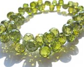 bulk cubic zirconia gemstone apricot drop onion faceted green olive  assortment  jewelry beads bracelet 5.5x7mm 64pcs