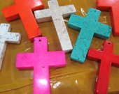 lager 6pcs 28x60mm Turquoise stone Cross blue white pink oranger red Mixed turquoise pendant jewelry beads