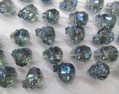 Handmade 25mm full strand  Crystal bead Crystal like Swarovski  skull skeleton carved champagne royal blue rainbow pendant  Beads