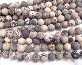 2strands 4-16mm Genuine Brown  Ocean Jasper stone Round Ball matte crab grey coffee wood Japser  loose beads