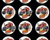 BLAZE AND THE MONSTER MACHINE 2.5-Inch Round Personalized Stickers SET #3