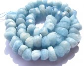 high quality Genuine Aquamarine Beryl gemstone freeform nuggets Rondelle Faceted Blue  beads   8-16mm full strand