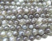 High Quality  4-12mm full strand  Natural moonstone gems Round Ball  white grey black flashy  jewelry beads