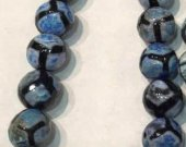 60%off-- 8mm Tibetant Agate Gem Round Ball Faceted Triangle  Eyes   Evil  blue  Loose Bead