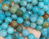 Blue Agate Carnerial bead 4 6 8 10 12 14 16mm full strand Gem Round Ball cracked faceted mixed  loose bead