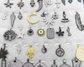 24pcs Assorted charm jewelry CZ Micro Pave Diamond paved earrings Jewelry findings Micro Pave  Brass round star horn arrow tree focal beads