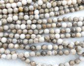 2strands 8 10 12mm Genuine Brown Lace Ocean Jasper stone Round Ball faceted grey coffee wood Japser  loose beads