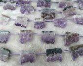 high quality 18x25mm full strand Raw cap amethyst quartz  Natural rock Quartz nuggets  freeform rectangle  jewelry bead