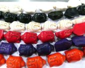 wholesale 15-30mm Howlite Turquoise buddha carved white black green lapis blue oranger brown mixed bead