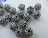 top quality 50pcs 6 8 10 12mm Bling Pave  Opal Crystal Brass Spacer Round Ball Gunmetal  Gold Antique silver  Charm beads