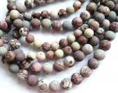 2strands 4-14mm Genuine Brown  Ocean Jasper stone Round Ball matte crab grey coffee wood Japser  loose beads