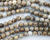 2strands 4-16mm Genuine Brown Lace Ocean Jasper stone Round Ball grey coffee wood Japser  loose beads