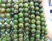 Fashion 5strands  8 10 12mm Tibetant Agate Gem Round Ball  Evil  Matte Gemstone Green Brown Loose Bead
