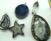 6pcs 25-80mm Fashion Natural Agate Druzy Pendant,Cubic Zirconia &Gunmetal Edging,freeform slab Star Point  Arrow Mix beads