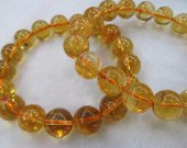 Handmade Natural Citrine bracelet round ball yellow jewelry bead 10 12 14 16mm one strand