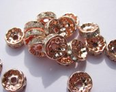 200pcs 4 -12mm  Micro Pave Crystal spacer Beads Brass  Rondelle Pinwheel Buttone brozne  Rose gold silver black jet  mixed Findings