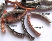 wholesale 50pcs 40mm Pave Micro CZ ,cubic zirconia  Brass  Crystal Connector ,Bar Tube  Curved for making jewelry finding