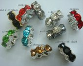 500pcs 4-12mm Top Quality Rainbow rhinestone rondelle wavy spacer beads