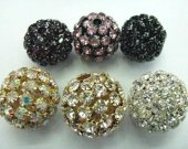 12pcs 20-28mm  Bling Micro Pave  Crystal Brass  Filigree Beads Spacer Round Metal Spacer Beads   Beads
