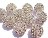 AA +12pcs 20-28mm  Bling Micro Pave  Crystal Brass  Filigree Beads Spacer Round Metal Spacer Beads   Beads