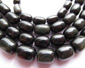 2strands 8-16mm high quality Geniune  Rainbow Obsiidan gemstone barrel drum black obsidian beads