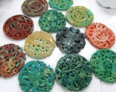High Quality 10pcs 70mm Ancient  Jade Pendant handmade Rare Animal butterfly Green Red Blue Black Assortment focal beads--double carved