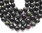 2strands 4-16mm Geniune  Rainbow Obsiidan gemstone round ball  black flashy evil obsidian beads
