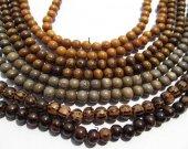 Genuine Wood Bead  5strands 5 6 8 9 10mm round ball brown black pink grey vintange wood  bead jewelry