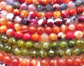 5strands  Natural Agate gemstone 4 6 8 10 12 14 16mm high quality round ball  faceted  black cracket cracked pink yellow green loose bead