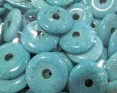 12pcs 16-50mm turquoise Beads  Turquoise stone  Donut roundel turquoise pendant blue white red connetor beads