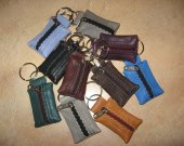 100% Real Genuine Leather Small Keyring Key Pouch Purse Wallet Coins Ring Keychain GREY  3.5x5cm