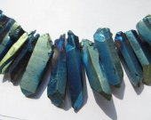 Druzy agate gemstone  15-50mm full strand Natural Rock Quartz ,sharp spikes freeform matte blue brown coffee mixed bead