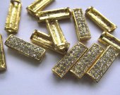 5pcs 8x20mm Pave micro crytal  Brass Spacer ,tone connetor ,rectangle ,ablong jewelry  charm bead